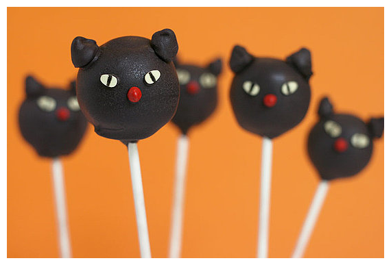 Red Velvet and Cream Cheese filled Black Cat Cake Pops