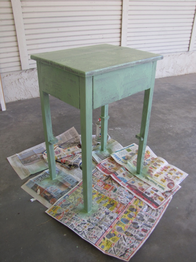 Pistachio spray painted table