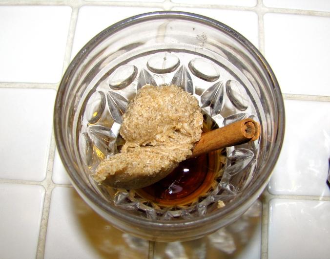 sugar/butter mixture & Meyer's dark rum