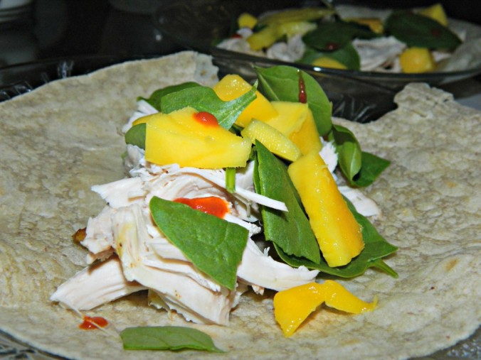 gluten free mango chicken wraps with spinach and sriracha