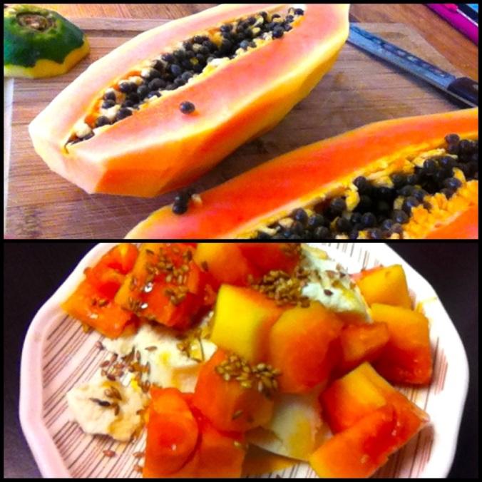 Breakfast: Papaya, honey, ricotta cheese and flax seeds
