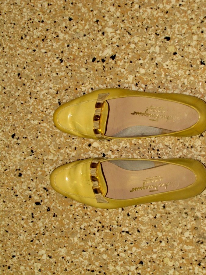 Only the best for Nonny... yellow patent leather Salvatore Ferragamo loafers