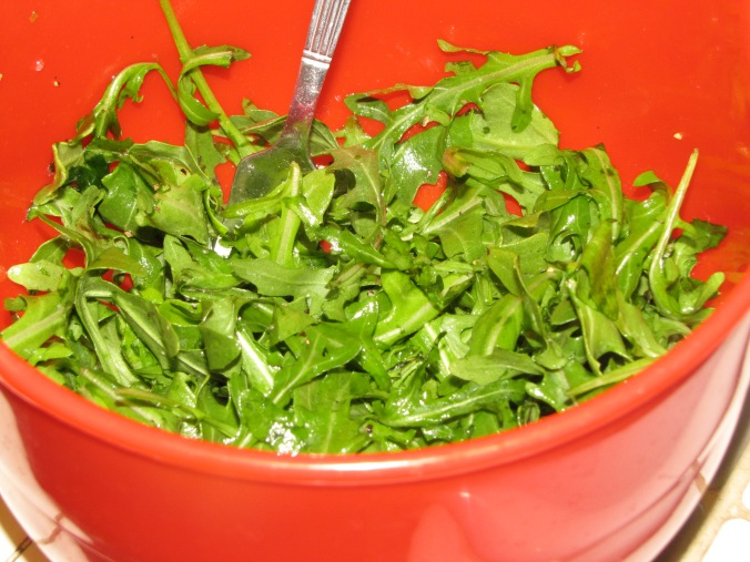a bed of arugula