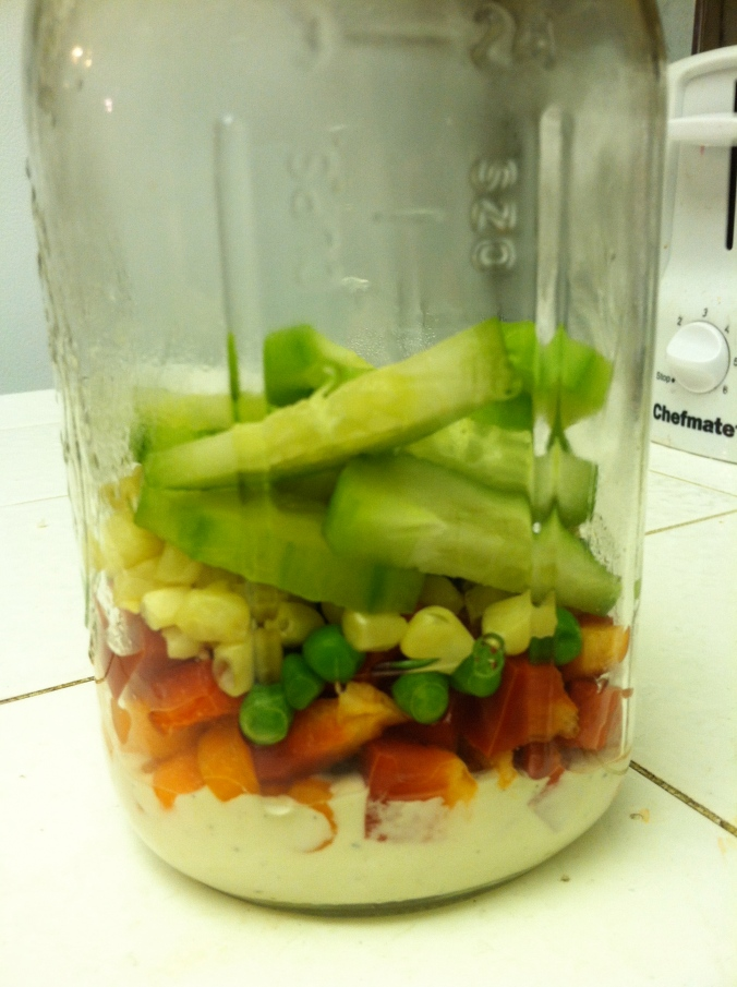 layer your veggies in order of firmness with the firmest at the bottom