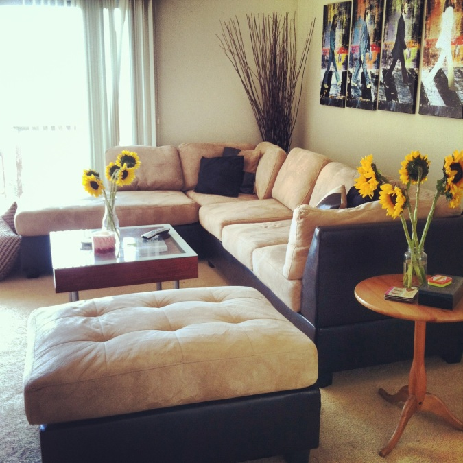Our living room, filled with bright and beautiful Sunflowers!