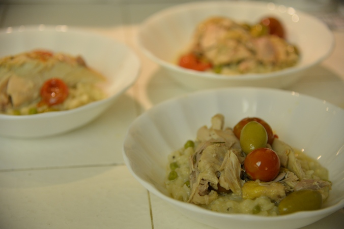 Chicken Provencale over parmesan and pea risotto
