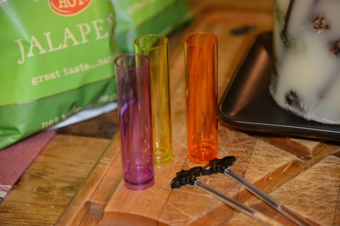 Spooky test tube shot glasses + batty drink stirrers