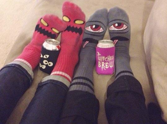 festive feet on the roomie + her man